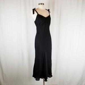 Lauren Ralph Lauren 100% silk black midi dress 12